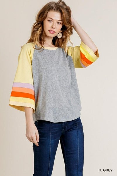 Colorblocked Bell Sleeve Round Neck Top with Scoop Hem 01116 *Final Sale*