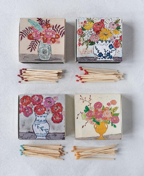 Matchbox w/ Safety Matches w/ Flowers in Vase 02276