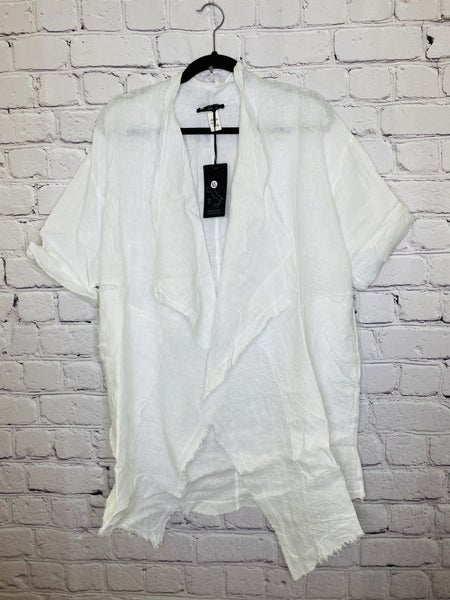 White Linen Open Tunic 03814