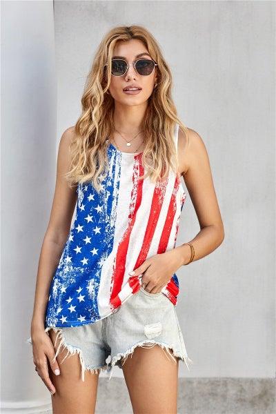 Stripes Star American Flag Print Tank Top 03820