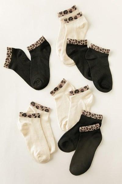 Animal Trimmed Ankle Socks 02857
