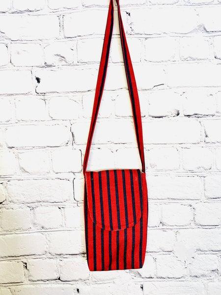 Red & Blue Stripe Side Pocket w/ Clear Phone Pocket