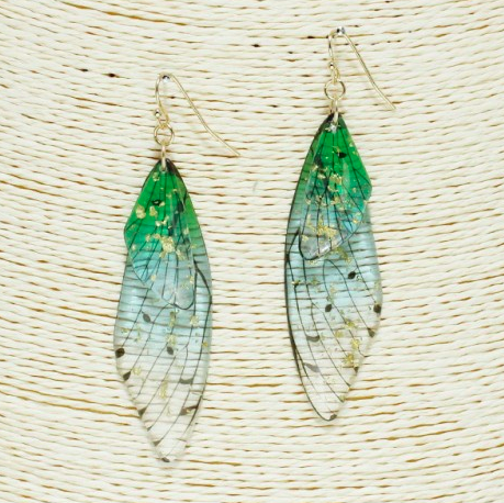 Transparent Resin Dragonfly Earrings 03643