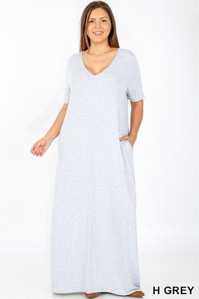 V-Neck Short Sleeve Maxi Dress 03457
