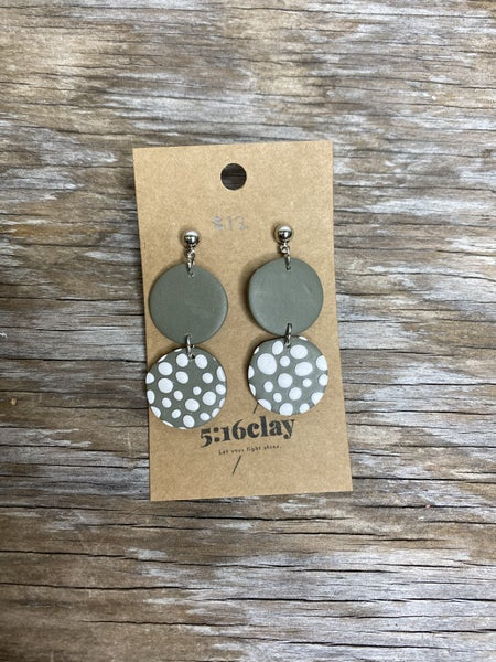 03260- Double Circle Clay Earrings