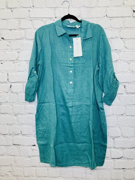 Tab Sleeve Linen Shift Dress 03046