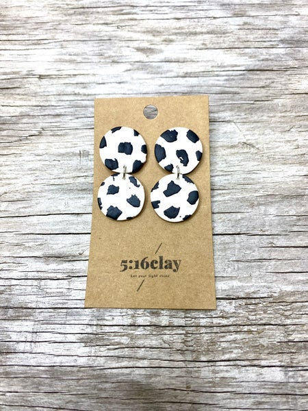Cow Circles Clay Earrings 03806