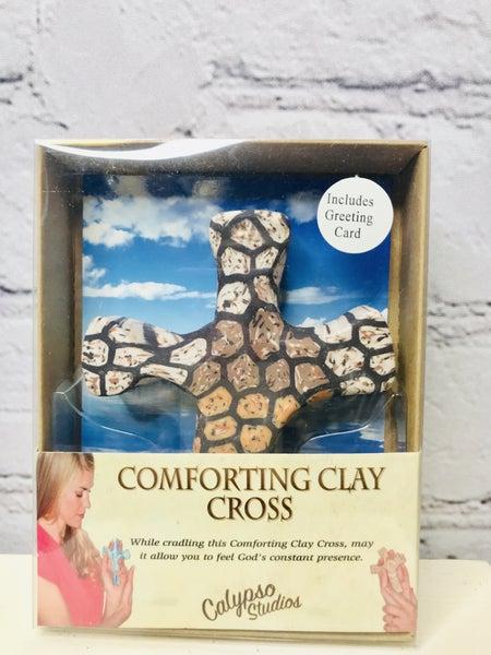 Comforting Clay Hand Held Cross 00513