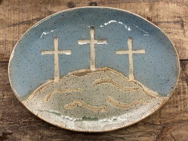 3 Cross Pottery Platter 03412