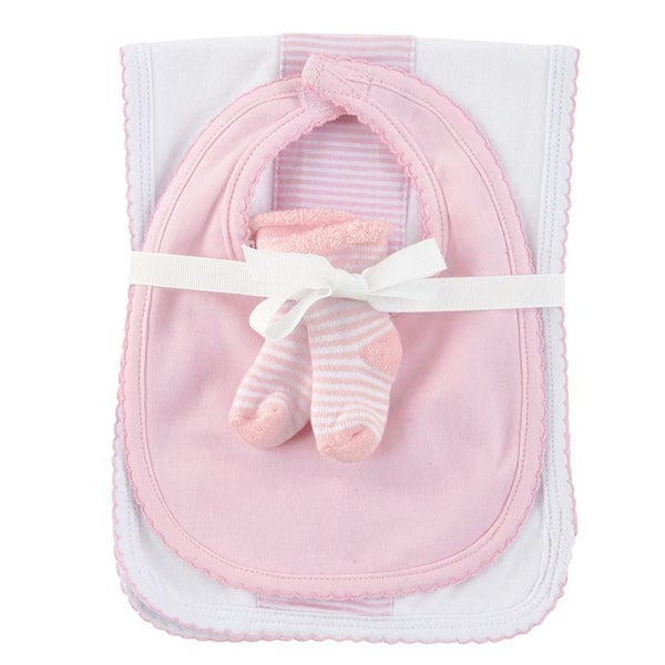 Pink Burp Bib & Sock Set 03139