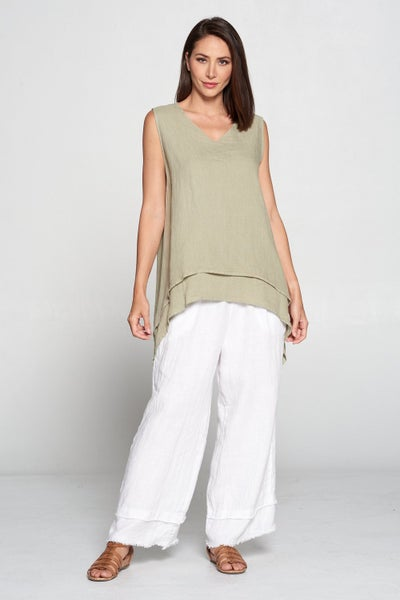 03583- Double Layer Linen Tank Top