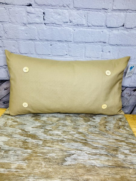 Dark Khaki  Button Pillow 03321