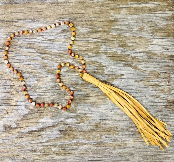 Sunshine Beads w/ Tan Leather Tassel Necklace 01524