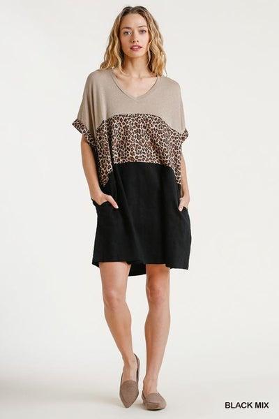 Linen Blend Short Folded Sleeve Dress 03594