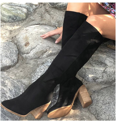 02504- Black Knee High Boots