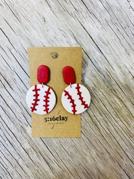 Baseball/Softball Dangle Clay Earrings 03790