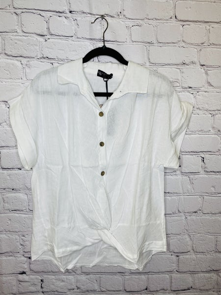 Button Up Linen Top 03728