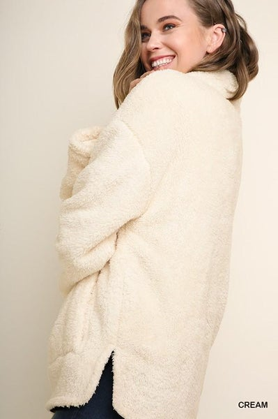 Fuzzy Knit Half Zip Pullover Sweater 02346