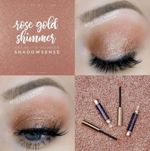 Rose Gold Shimmer ShadowSense Creme to Power Eyeshadow