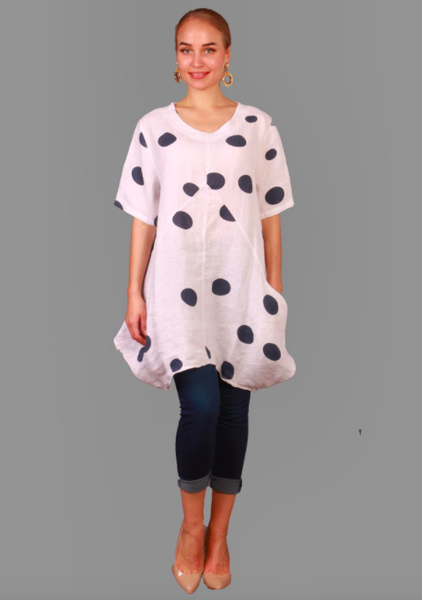 Polka Dot Linen Tunic 03726