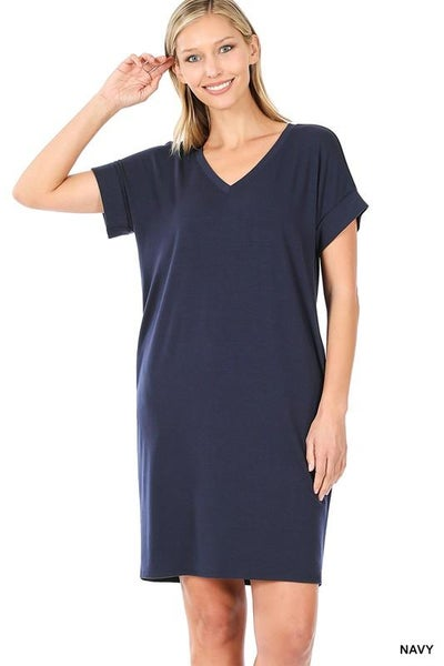 ROLLED SHORT SLEEVE V-NECK DRESS 03764