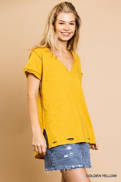 V-Neck distressed Hem Top 03631