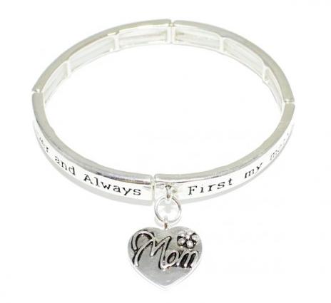 """Mom"" Inspiration Charm Stretch Bracelet 03653"