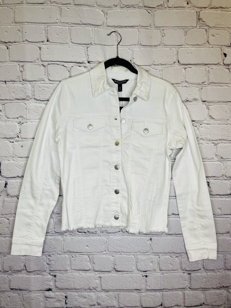 White Frayed Denim Jacket 03778