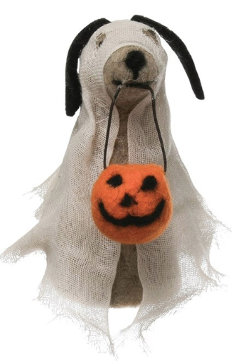 02311- Wool Felt Dog in Ghost Costume