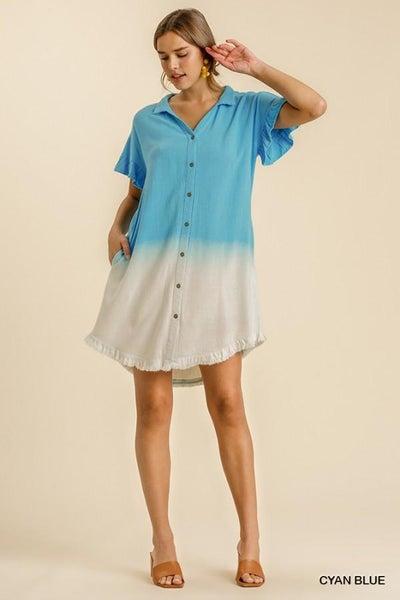 Ruffled Sleeve Shirt Dress 03403