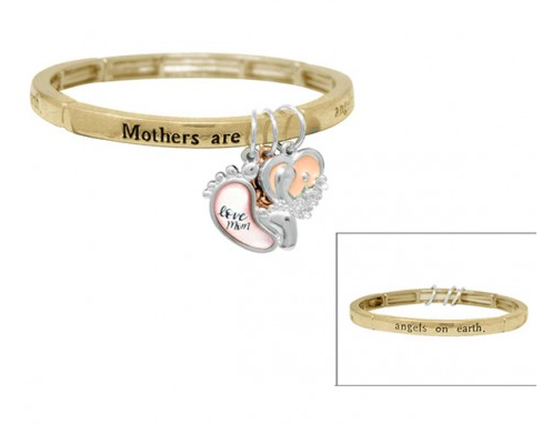 """""""Love Mom"""" Charm Stretch Bracelet 03654"""