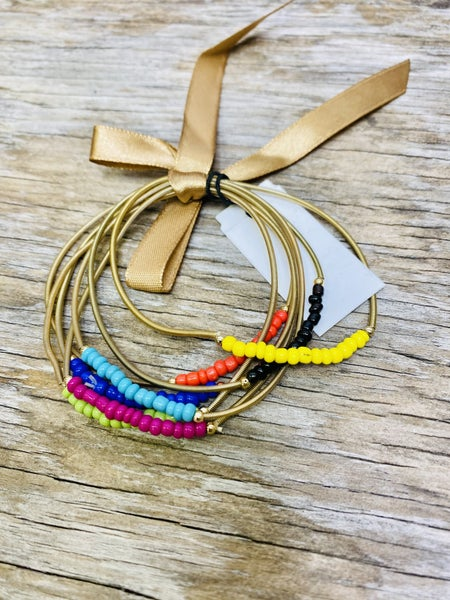 Spring Wire Bracelets with beads 03362
