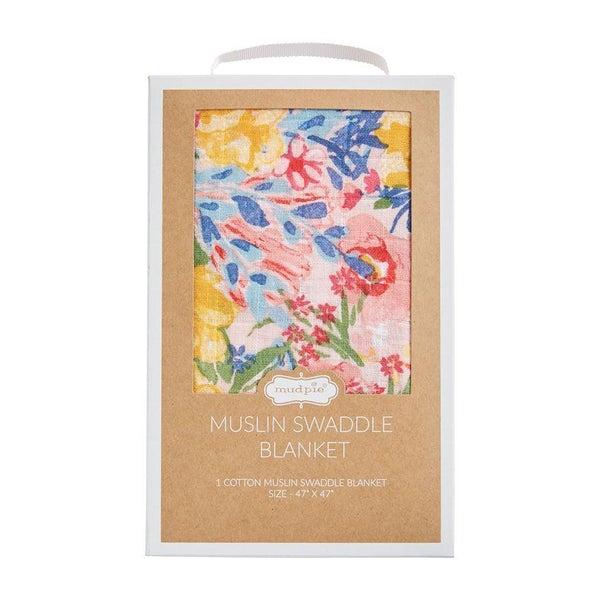 Rainbow Floral Muslin Swaddle Blanket 03177