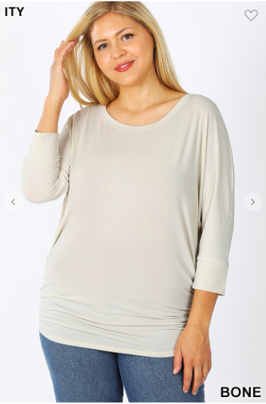 02543- BOAT NECK DOLMAN 3/4 SLEEVE WITH SIDE RUCHED TOP