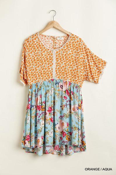 Mixed Floral Print Dress- 01537
