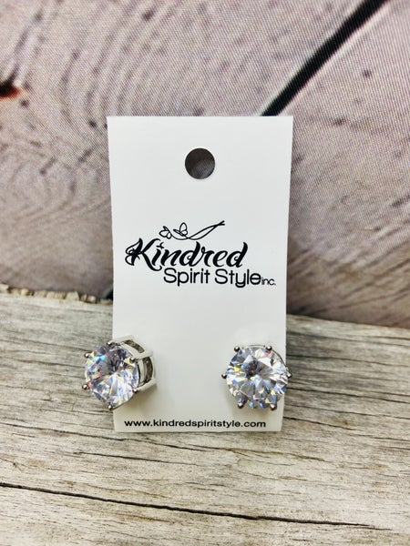 Large CZ Studs Earrings 03768