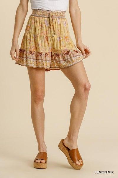Floral Border Printed Shorts 03577