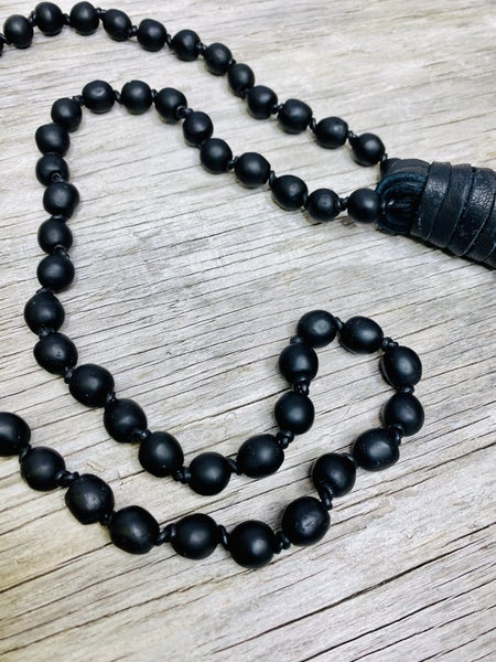 Black Smooth Leather Tassel Necklace 02259