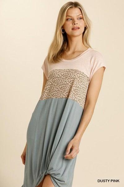 Linen Blend Animal Print Dress 03407