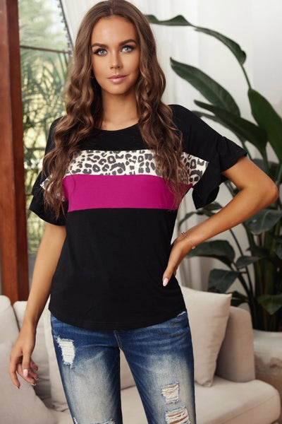 Leopard Color Block Short Sleeve Tee 03819