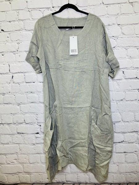 1/2 Tab Sleeve Linen Dress 03045