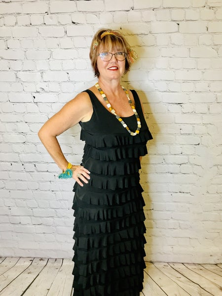 Long Black Ruffle Dress 00630
