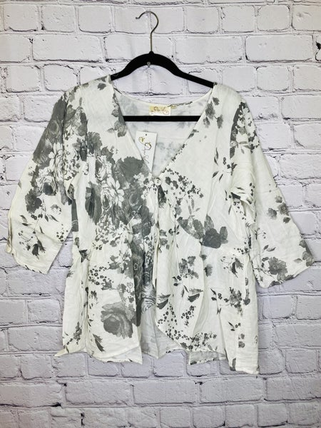 Grey Floral One Button Jacket 03730