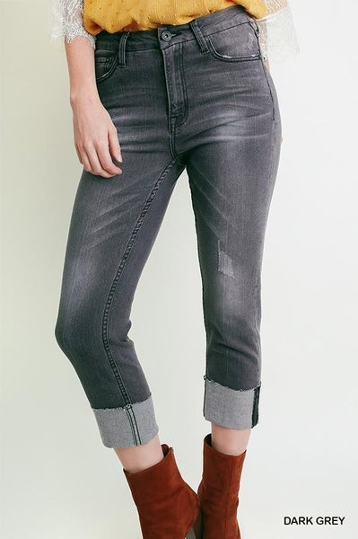 Dark Grey Cropped Jeans 03406