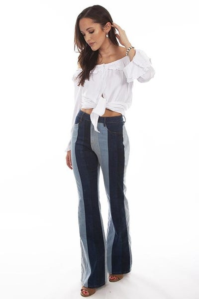 Multi colored panel jeans 03289