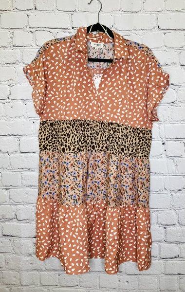 Mixed print Collar Dress 03630