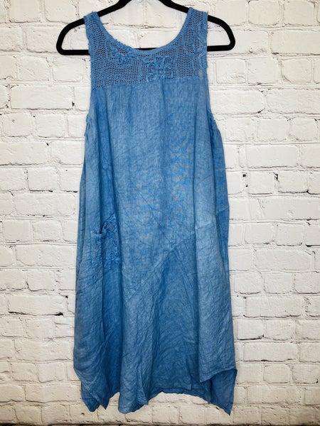 Linen Dress w/Mesh Detail 03557