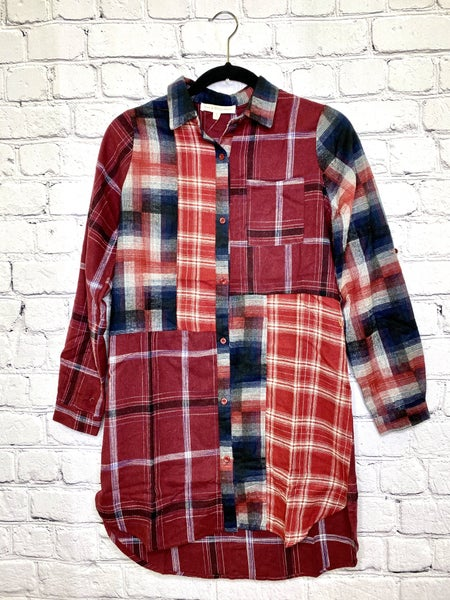 Mixed Flannel Button up Tunic 02299