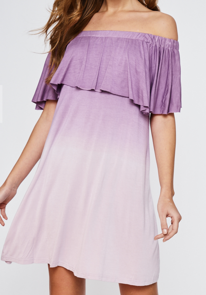 (3 colors) Dip Dye Off Shoulder Ruffle Dress