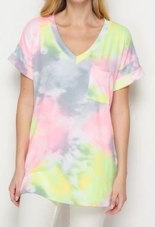(1X-3X) What A Wonderful Day Tie Dye Boyfriend Tee